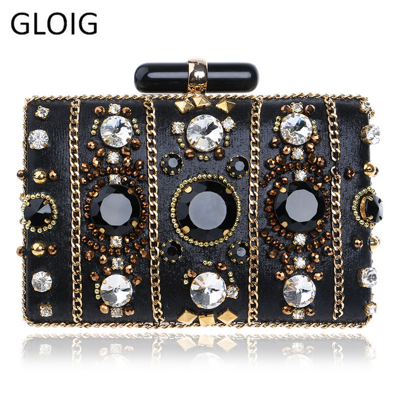 GLOIG Beaded-Accessory Chain Clutches Metal Vintage Handbags Messenger Evening-Bags Women