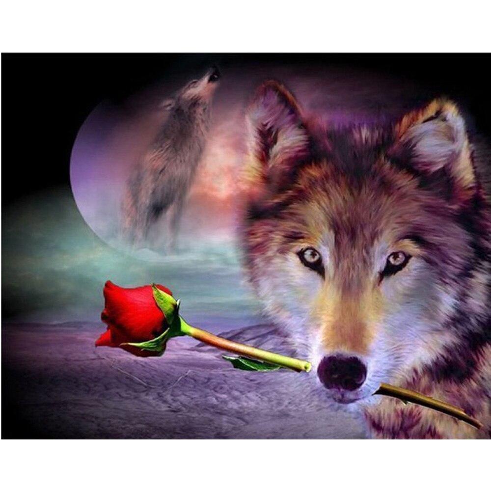 2016 Diy Diamond Mosaic Wolf And Ross 5D Diamond Painting Cross Stitch Kits Diamonds Emb ...