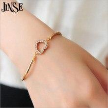 JINSE DF050 мода кристалл горного хрусталя сердце Форма манжеты браслет леди девушка Выходные туфли на выпускной бал украшение подарок для Для женщин