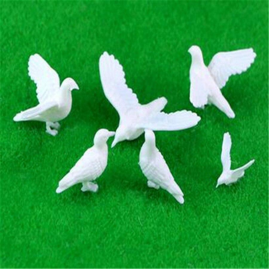 100pcs/lot Plastic Birds Small Figure Toy Model Dove Bird Of Peace Ho N Oo Model Train Oo Scale Railway Modeling