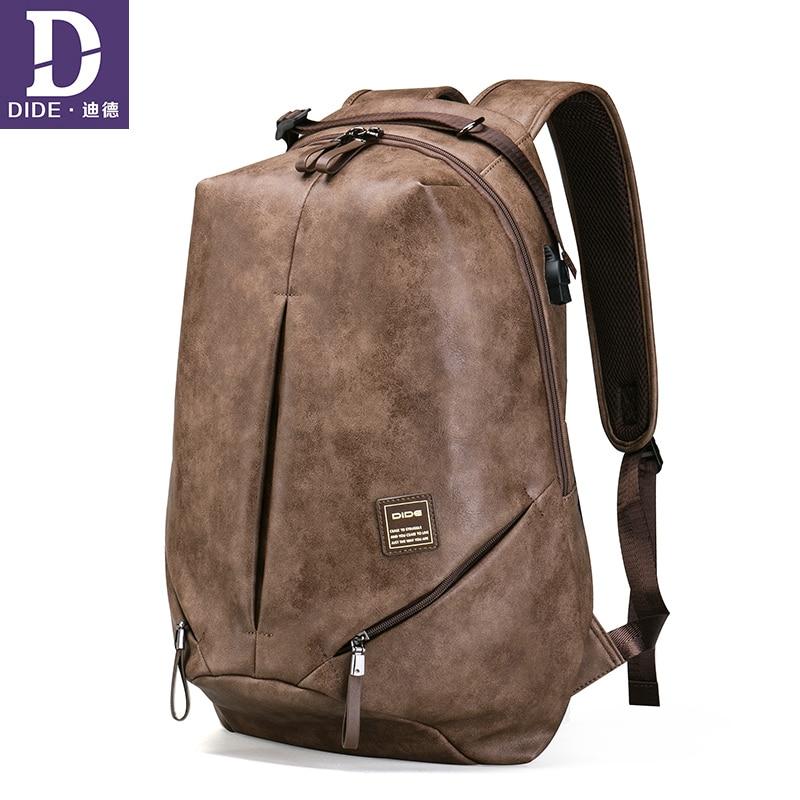 все цены на DIDE Men Backpack bag School Bag for Teenager USB charging 15.6 inch Laptop Backpack Unisex Vintage Male Backpacks Mochila онлайн