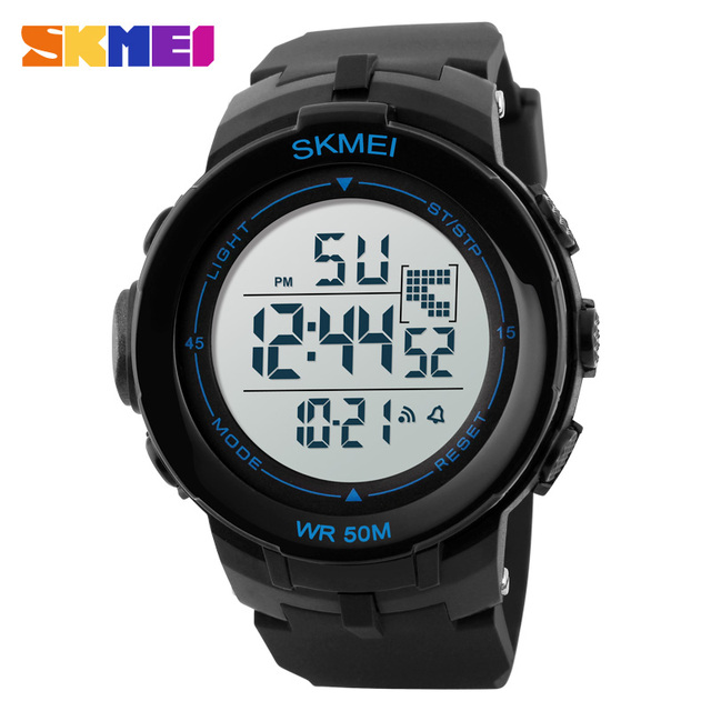 SKMEI Outdoor Fashion Sports Watches Men LED Digital Wristwatches Multifunction Shock Resistant 50M Waterproof Watch 1127