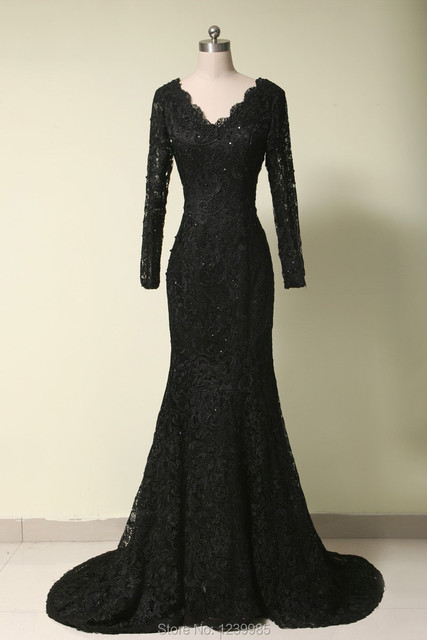 2017 Real Sample Dress Black V-neck Long Sleeves Lace Dress Mother of the Bride Dresses Prom Gown Evening Party Gowns