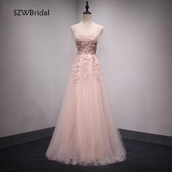 Elegant Ever pretty Pink Evening dresses Long 2020 Lace Appliques Formal dress to Party A-Line abiti da cerimonia da sera