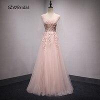 Elegant Ever pretty Pink Evening dresses Long 2019 Lace Appliques Formal dress to Party A Line abiti da cerimonia da sera