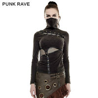 2016 New Punk Rock Black Brown Colour Summer T Shirt Steampunk Mask Style Kawaii Top S