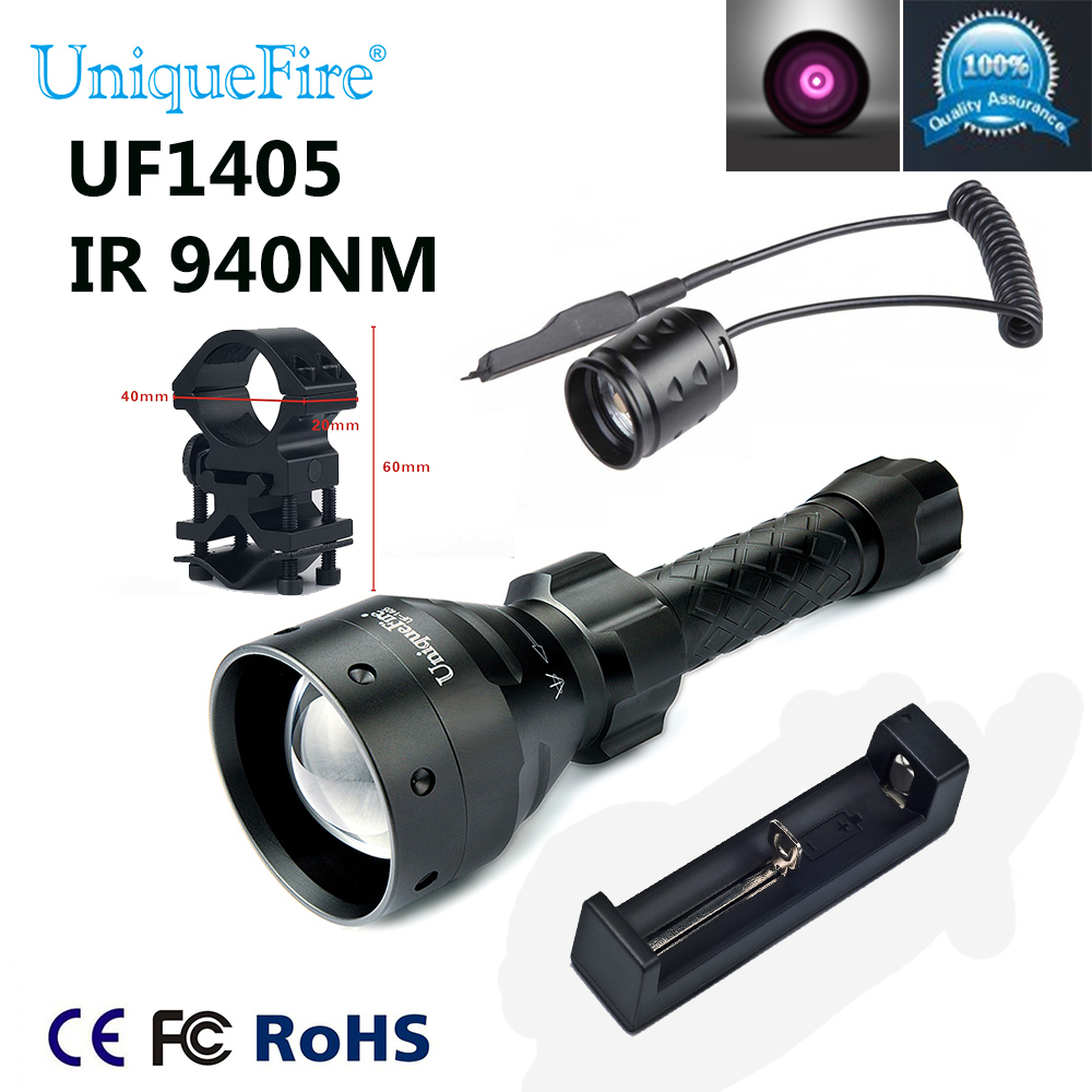 все цены на UniqueFire Hot Sale 1405 IR 940NM 3 Modes Zoomable 67mm Lens LED Flashlight+Charger+Scope Mount+Rat Tail Set For Night Hunting онлайн