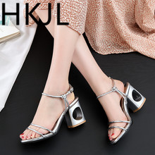 HKJL Women New fashionable Korean version of fishmouth open toe buckle and thick heel sandals for ladies Big size 34-43 Q001