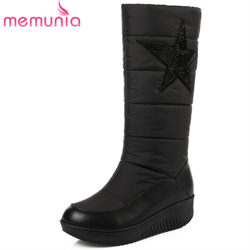 MEMUNIA Genuine leather + down mid calf boots top quality women shoes fashion boots in winter snow boots rhinestone platform stylish women s mid calf boots with solid color and fringe design