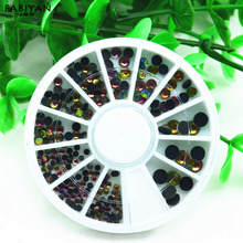 Mixed Size Nail Art Wheel Acrylic Gel UV Round 3D Tips Crystal Rhinestone Gems Glitter Decoration Manicure Accessories DIY Tools