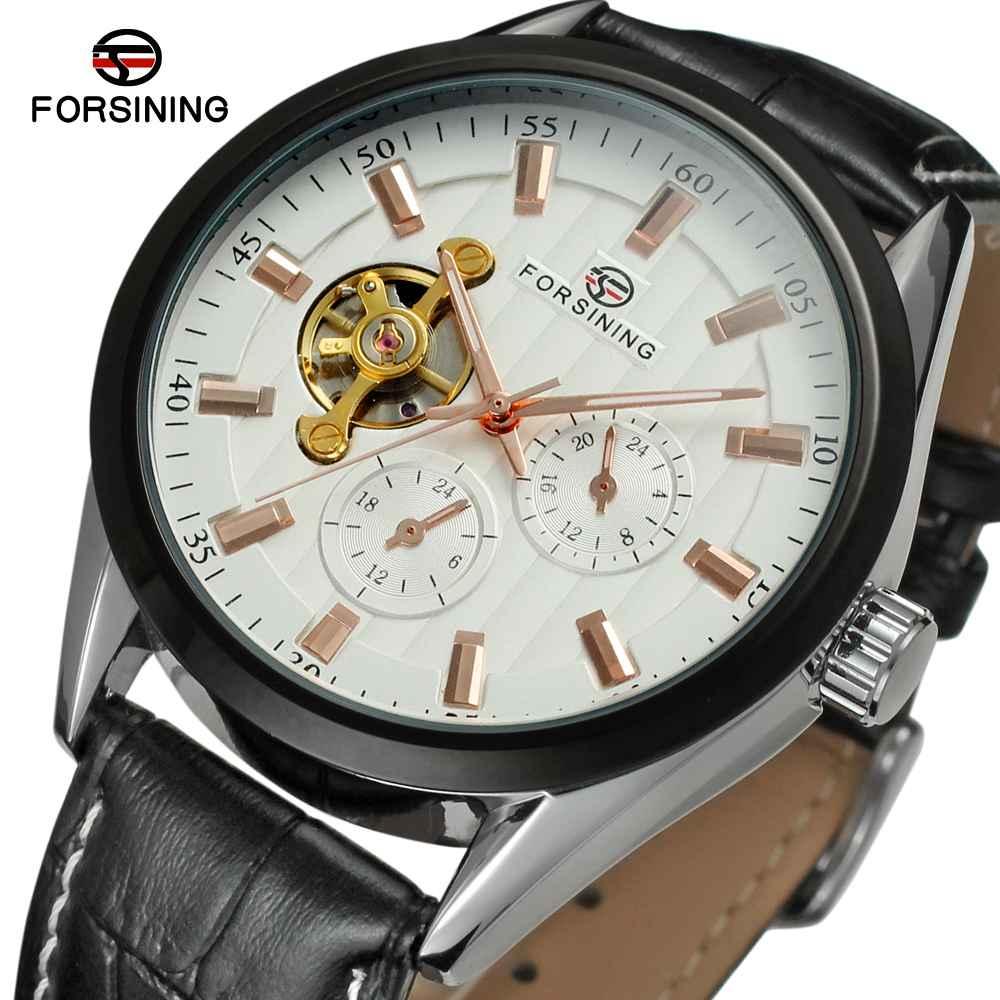 FORSINING décontracté hommes montre Tourbillon bracelet en cuir Sub cadran décoration Top marque Design classique gagnant montre-bracelet