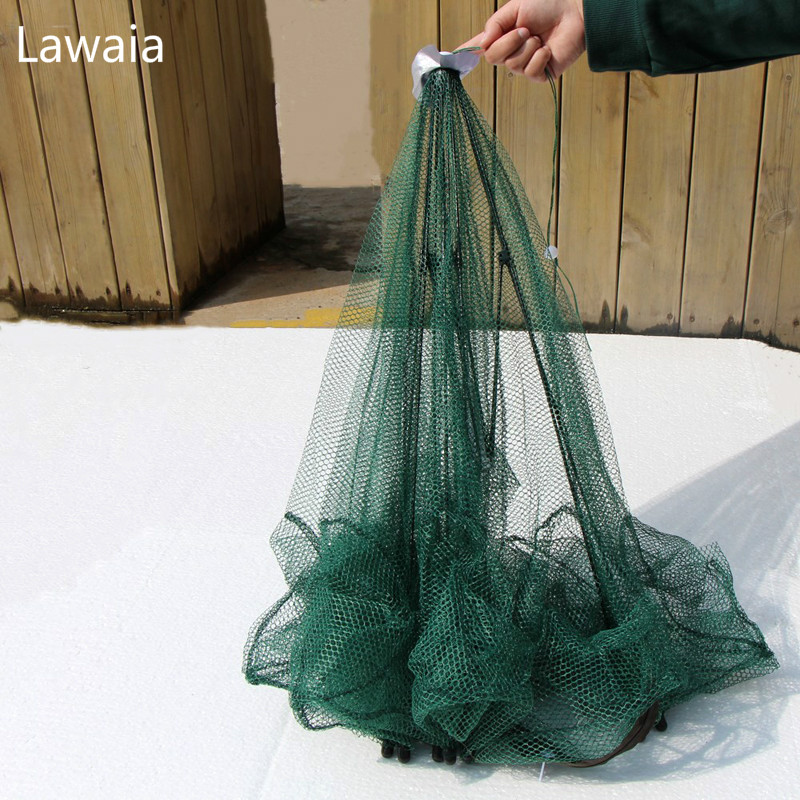 Lawaia 8 Hols Fishing Nets Network Folding Minnow Mesh Nylon Shrimp Trap Crayfish Net China Crab Trak Rubber Folding
