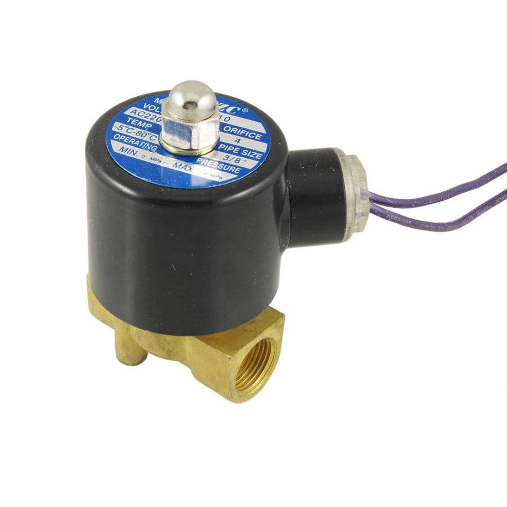 AC 12V 3 8 2 Way 2 Position Gas Water Solenoid Valve Black Gold Tone