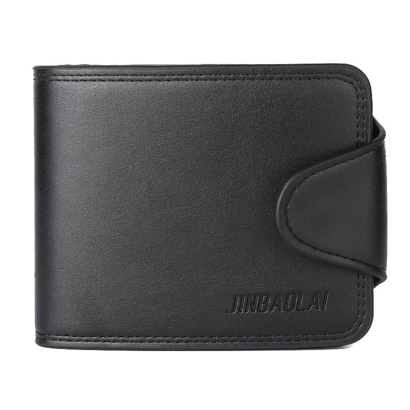 JINBAOLAI 1 black leather mens crossed buckle wallet coin purse contains 1 big space +7 card + 1 photo bit +1 coin bag