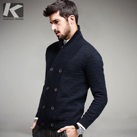 KUEGOU Men Fashion Wool Sweater Male Knitted Cardigan Fashion Mens Sweaters Spring Autumn Leisure Sweater For