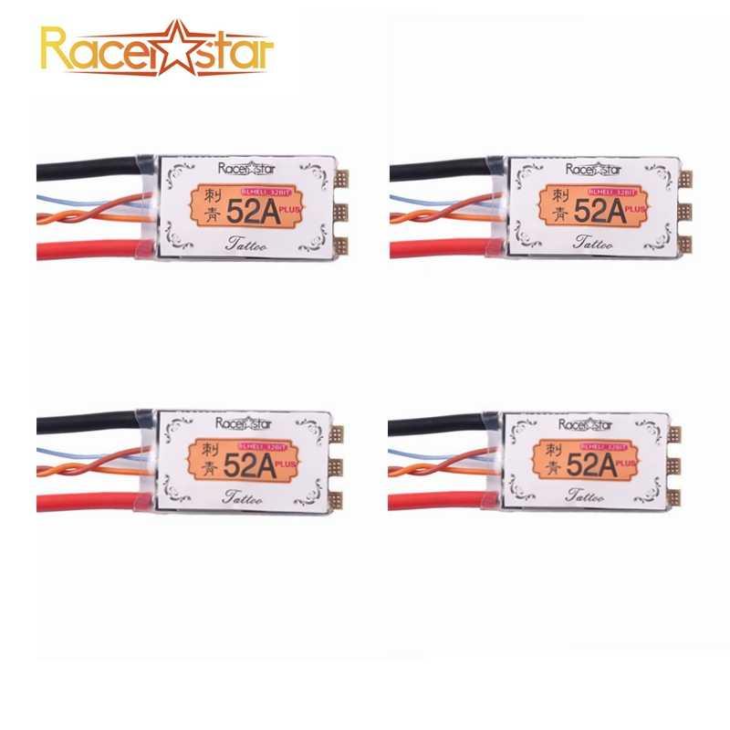 Racerstar tatuaje + 52A BLheli_32 72 MHz GD32F150 2-6 S ESC Dshot1200 Sensor de corriente listo LED telemetría para dron de carreras RC Racer