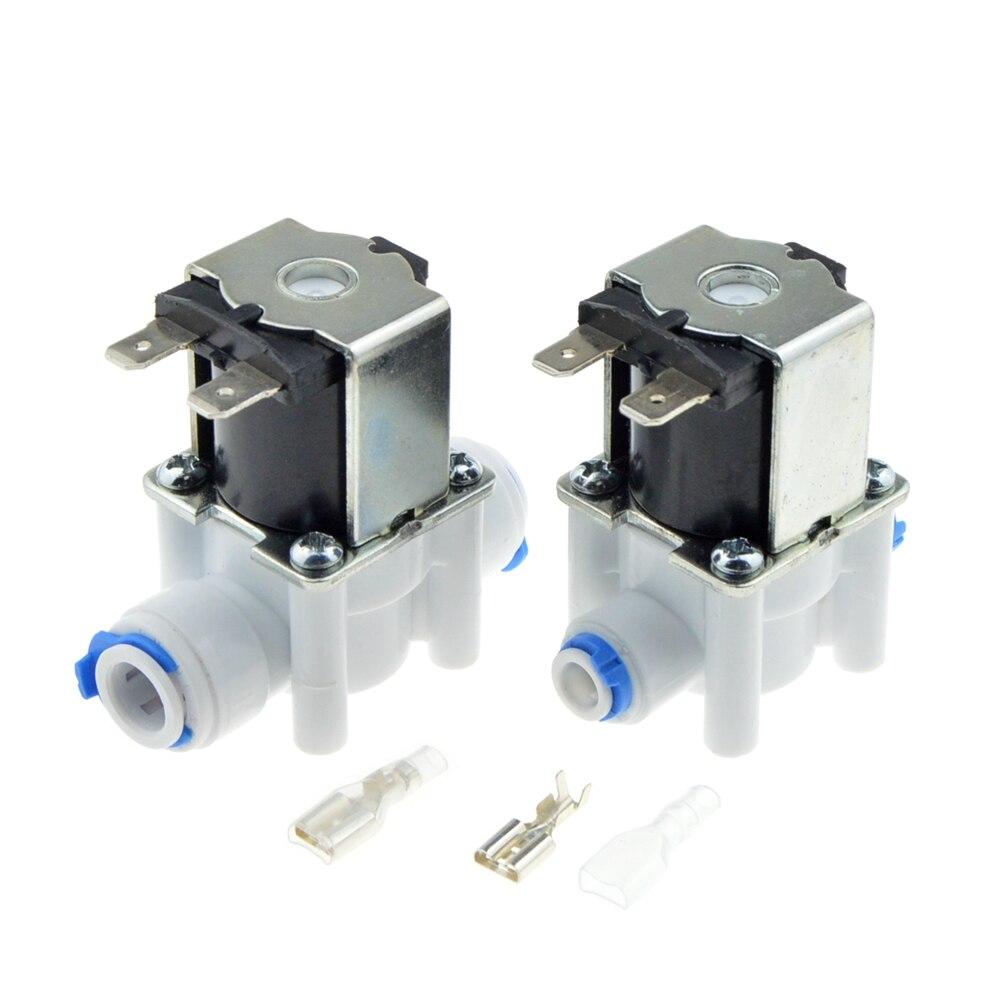 Eléctrica de plástico válvula de solenoide de 12 V 24 V 220 V Normal cerca de 1/4 3/8 tubo de manguera rápido Conntection de Agua RO Sistema de ósmosis inversa