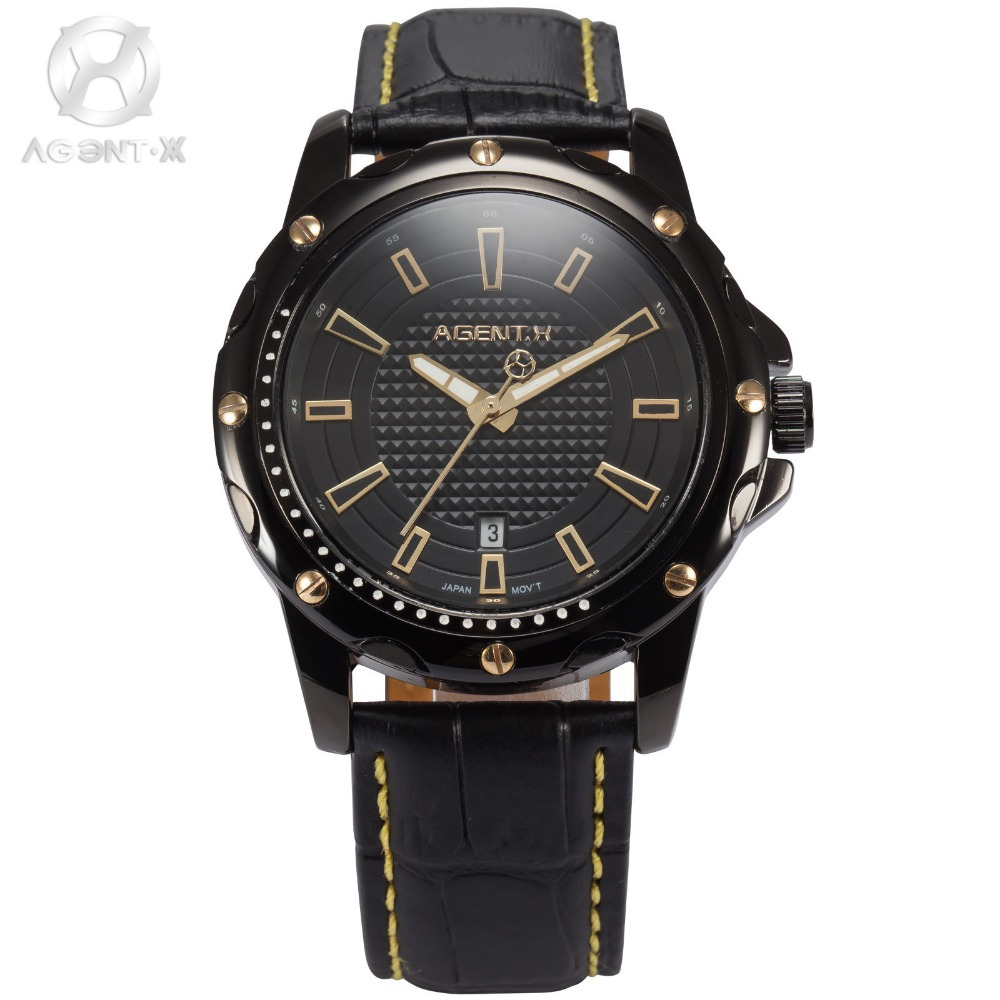 AGENTX Brand Auto Date Display Analog Relogio Black Gold Dial Quartz leather Watchband Clock Men Business Watch Gift Box /AGX120
