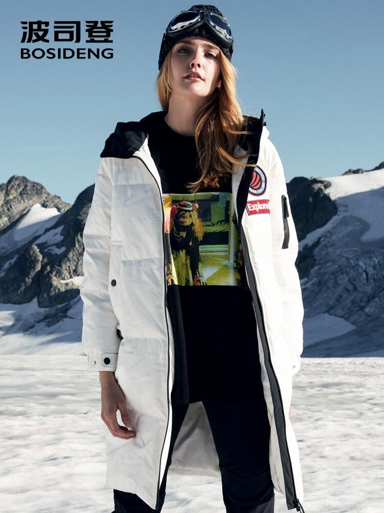 BOSIDENG 2018 novo ganso para baixo mulheres jaqueta longa com capuz parka B80142152 tecido revestido à prova d' água à prova de vento de alta qualidade