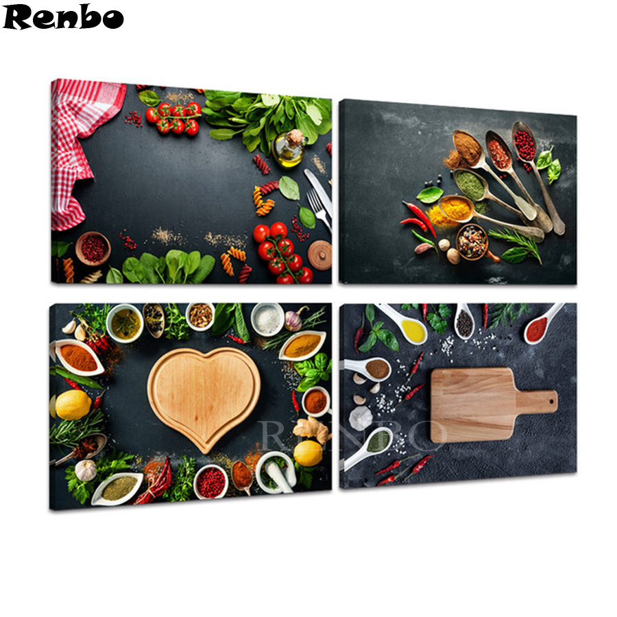 full square diy 3d diamond embroidery Grains Spices diamond painting 4pcs set diamond mosaic Kitchen Decor Wall Art Food Picture