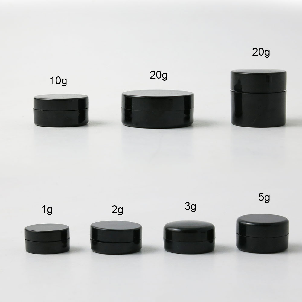 1000 X Travel Portable Small 1g 2g 3g 5g 10g 20g Plastic Black Cream Jar Pot Box Nail Art Cosmetic Bead Storage Container