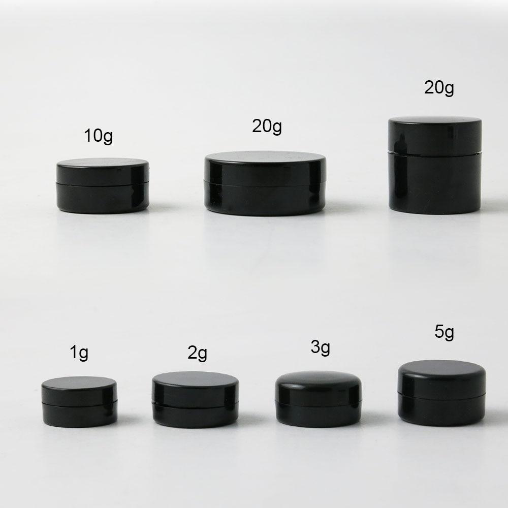1000 X Travel Portable Small 1g 2g 3g 5g 10g 20g Plastic Black Cream Jar Pot Box Nail Art Cosmetic Bead Storage Container