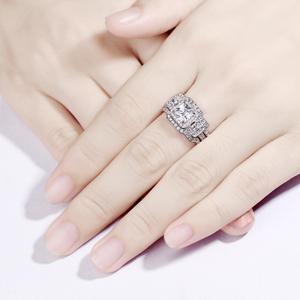 Image 5 - Newshe 3 Pcs Wedding Ring Set Klassieke Sieraden 925 Sterling Zilver Princess Cut Aaa Cz Engagement Rings Voor Vrouwen Maat 5 12