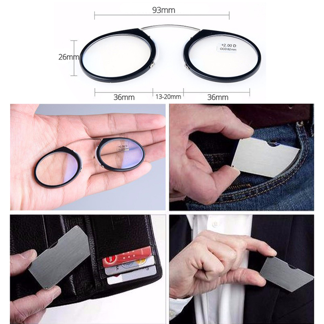 Guanhao Magnetic Reading Glasses With Case Nose Clip Round Optical Frame Diopter Prescription Eyewear Men Women Portable Glasses