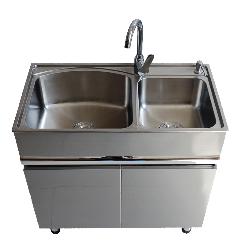 80x48cm Steel Sink Balcony Lavatory Cabinet Movable Washboard font b Closet b font Floor Sink Cabinet