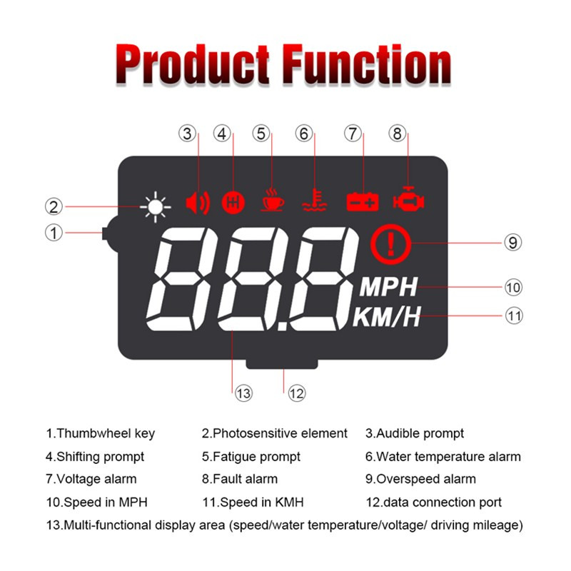 Image 3 - GEYIREN Car hud a100s obd hud display windshield projector temperature hud display car car electronics Overspeed Warning System-in Head-up Display from Automobiles & Motorcycles
