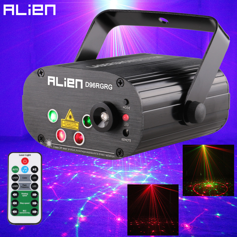 ALIEN 96 Patterns Dual Red Green Laser Projector Blue LED Stage Lighting Effect DJ Disco Club Party Wedding Light With Remote