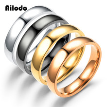 Ailodo Simple Fashion Rings For Women Men 4MM Stainless Steel Plain Couple Engagement Wedding Jewelry Gift LD138