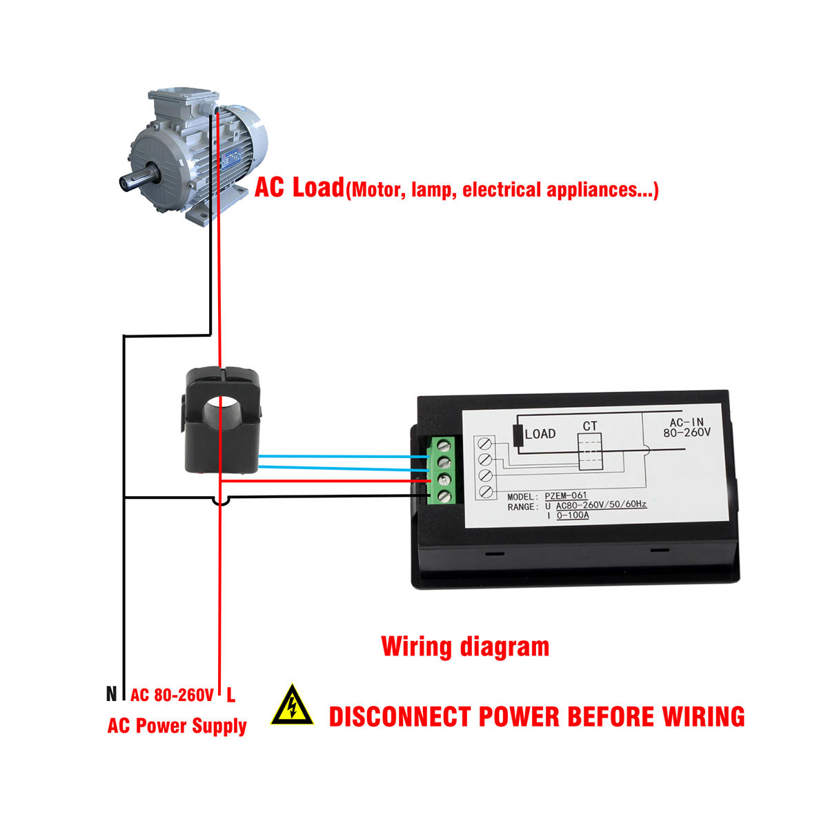 Watt Meter Wiring Diagram Of Online Schematics Three Phase Ammeter Digital Ac 80 260v 100a Volt Amp Power Kwh Monitor 3