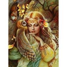 Yikee Алмазная картина девушка сова 5d diy полная дрель смола