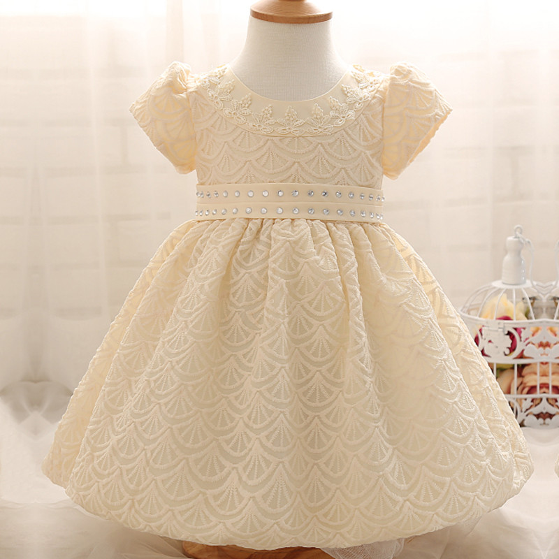 2017 Summer Print Newborn Dresses For Infant Toddler Girls Clothes Crystal Diamond Waist Baby Christening Gown