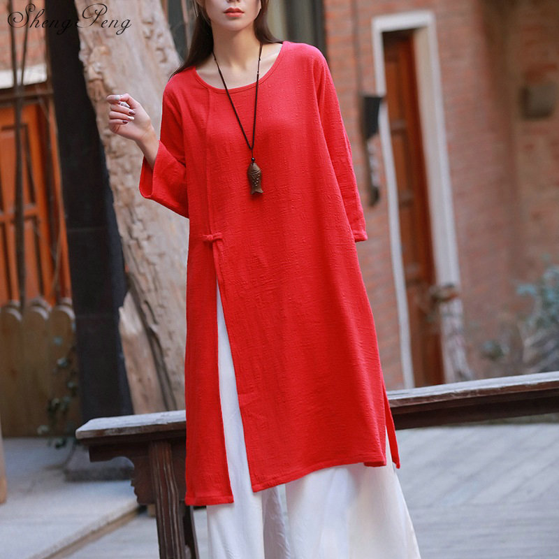 2019 Women Cotton Linen Yoga Clothes Solid Color Loose Tai Chi Clothing For Female Traditional Chinese Clothing For Women Q763