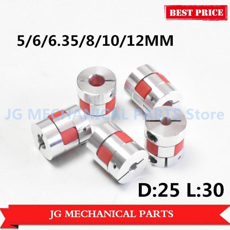 5//6//6.35//8//10//12mm Aluminum Motor Shaft Coupler Flexible Couplings D25 L30