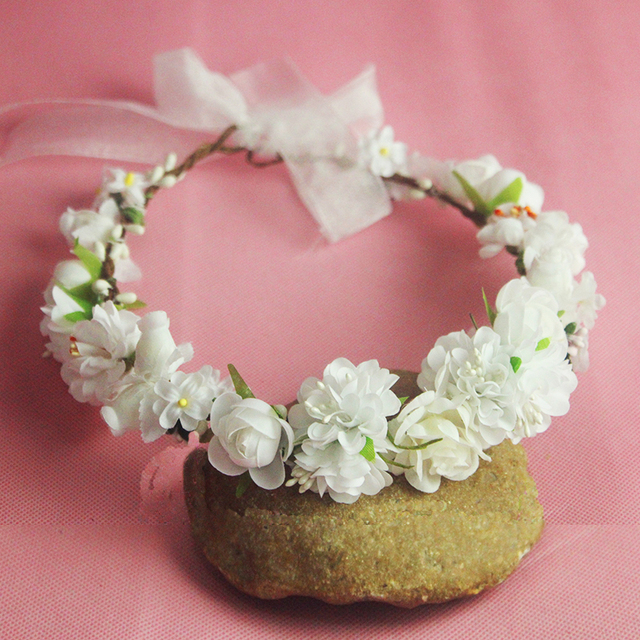5 colors bridal white flower headpiece wedding hair accessories 5 colors bridal white flower headpiece wedding hair accessories floral crown boho halo artificial silk flower mightylinksfo