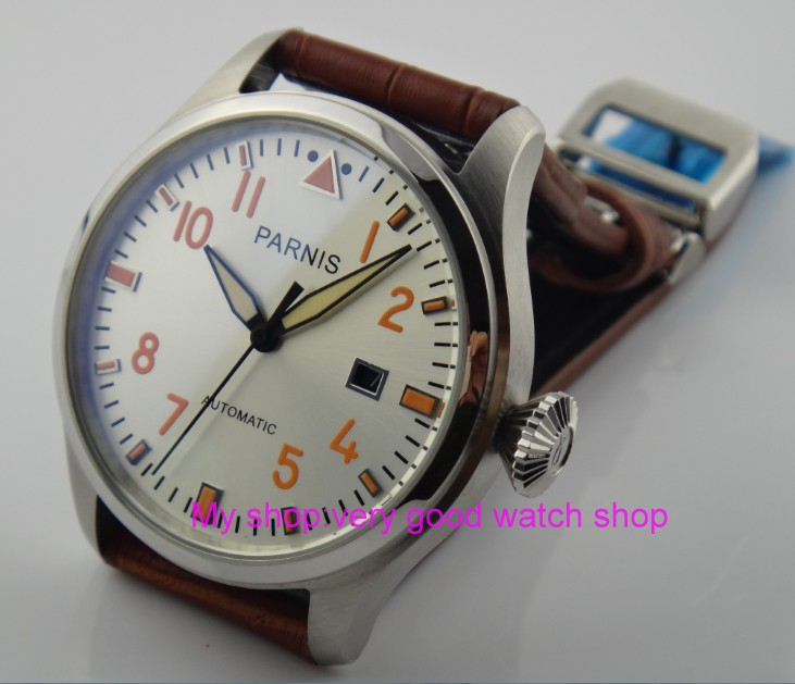 47mm big PARNIS white dial Automatic Self-Wind movement Auto Date men watches luminous with hands Mechanical watches 18SY47mm big PARNIS white dial Automatic Self-Wind movement Auto Date men watches luminous with hands Mechanical watches 18SY