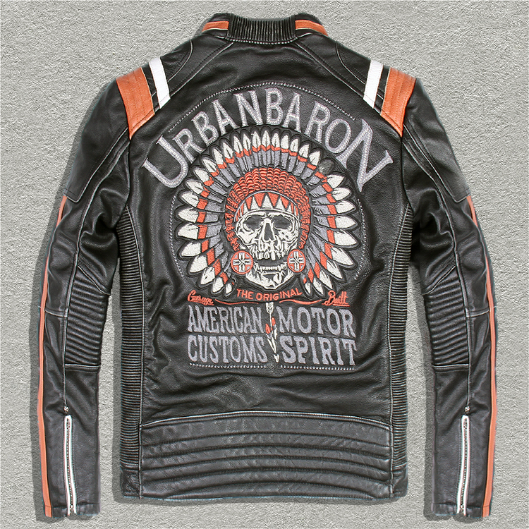 Бесплатная доставка, брендовые новые куртки из воловьей кожи, Мужская байкерская куртка из натуральной кожи. Крутое винтажное байкерское п...