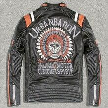 DHL Free shipping,Brand clothing harley skull leather Jackets men's genuine Leather biker jacket.motor biker 2016 vintage