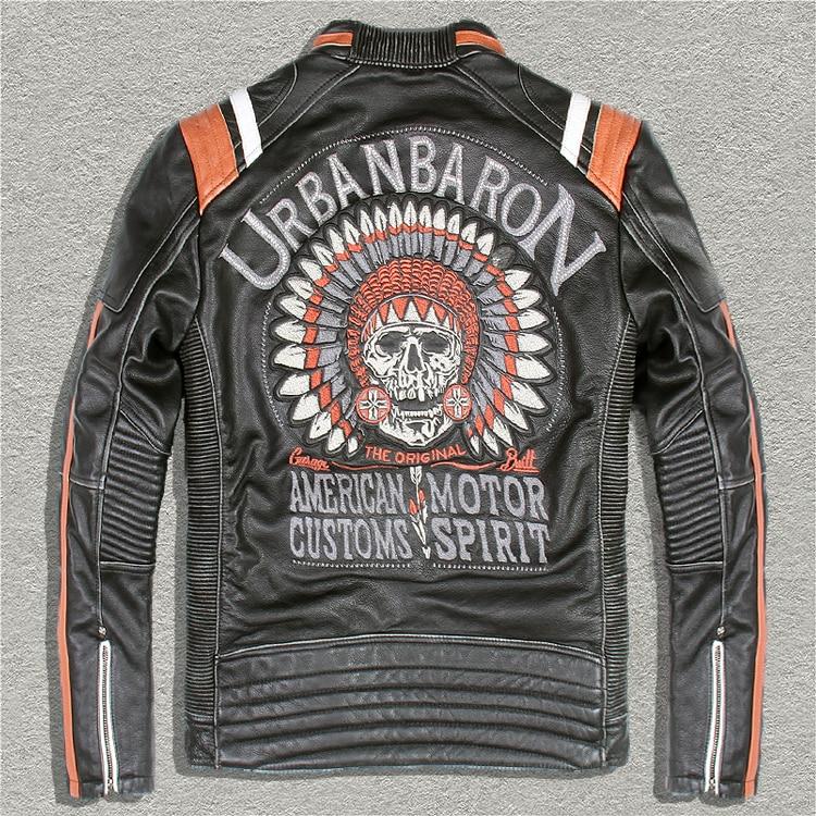 Il trasporto libero, Marca nuovo cuoio della pelle bovina Giubbotti, genuino degli uomini giacca di Pelle da motociclista. freddo motor biker vintage cappotto