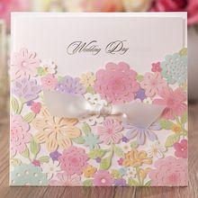 100pcs Wishmade Luxury Laser Cut Colorful Flower Lace Wedding Invitation Card Free Customized Printing CW5031
