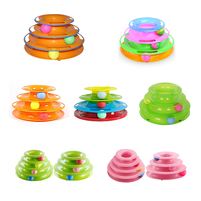 Funny Pet Cats Toys Balls Toy Rotate Crazy Ball Disk Interactive Amusement Plate Play Disc Trilaminar Turntable Cat Toy 2018