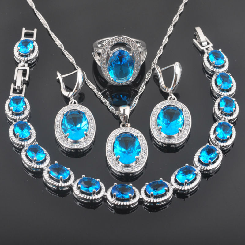 FAHOYO Blue Zirconia Classic Design For Women 925 Sterling Silver Jewelry Sets Bracelet Necklace Pendant Earrings Ring QS094