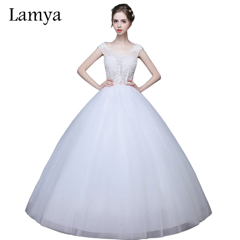 LAMYA vestido de noiva 2019 Sexy Lace Wedding Dresses Lace Backless Bridal Gowns Women Strapless Ball Gown