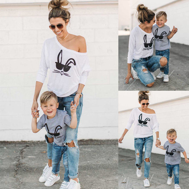 b04937c6e0aab4 2018 Fashion Family Matching Outfits Mom Son T-shirt Tops Clothes Cute  Casual Summer T-shirts Blouse