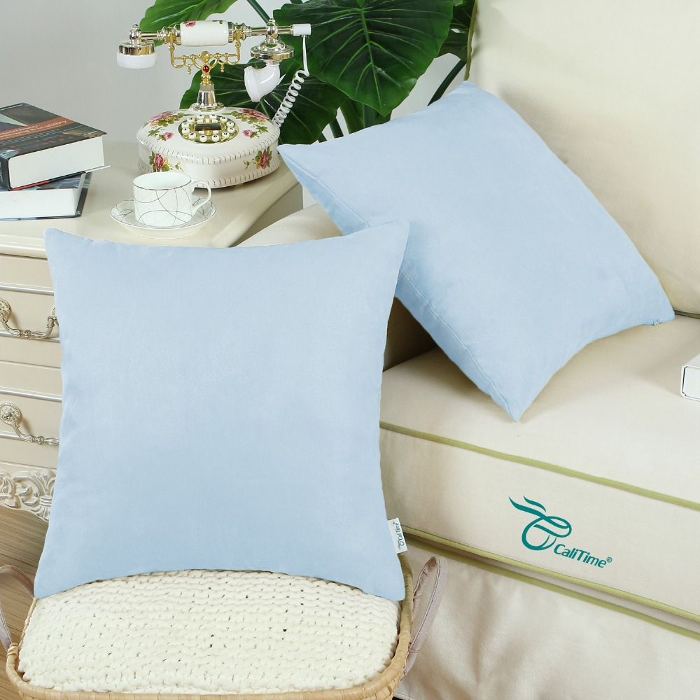 2PCS Square CaliTime Solid Cushion Cover Pillow Shell Home Sofa Decor Super Soft Thick Heavy Faux Suede 18 X 18 Baby Blue