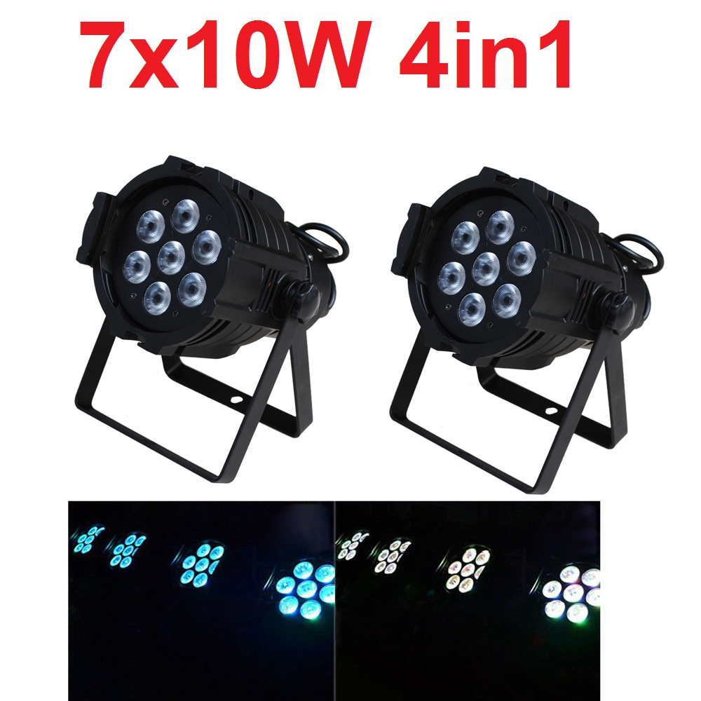 2xLot 2016 Led Par Can 7x10W RGBW 4IN1 Quad Color Mini Par Led DMX DJ Disco Stage Lights 70W Moving Head Strobe Effect Projector 4xlot free shipping led par can 54x3w rgbw led par light strobe dmx controller for dj disco bar strobe dimming effect projector