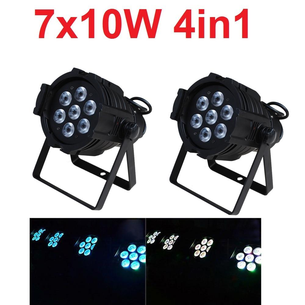 2xLot 2019 Led Par Can 7x10W RGBW 4IN1 Quad Color Mini Par Led DMX DJ Disco Stage Lights 70W Moving Head Strobe Effect Projector